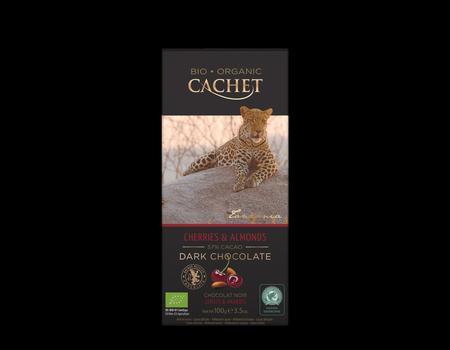 Chocolat noir 57% fabriqué avec du cacao de Tanzanie aux cerises et amandes.