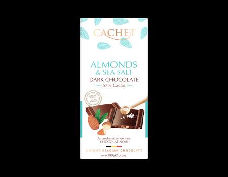 Chocolat noir aux amandes et fleur de sel.