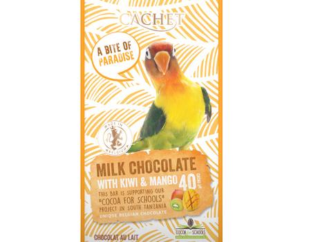 Chocolat au lait 40% cacao au kiwi et mangue.