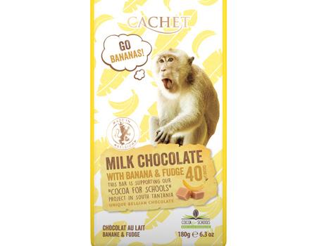 Chocolat au lait 40% cacao au banane et caramel.