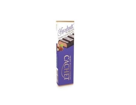 Chocolat noir fourré à la pâte noisettes (49%).