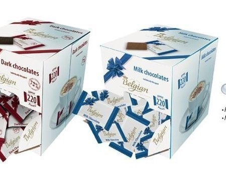 Chocolats flowpack au lait 220p.