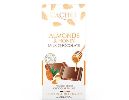 Chocolat au lait avec amandes et miel.