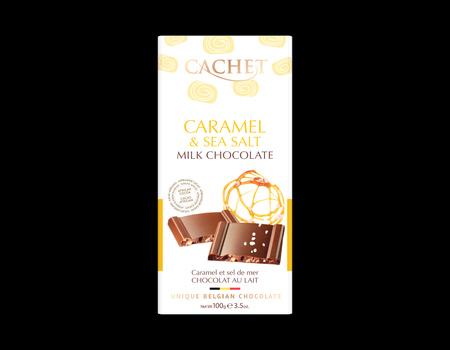 Chocolat au lait avec pièces de caramel croquant et fleur de sel.