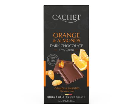 Chocolat noir aux orange et amandes.
