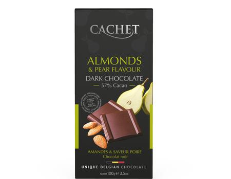 Chocolat noir aux amandes et poire.