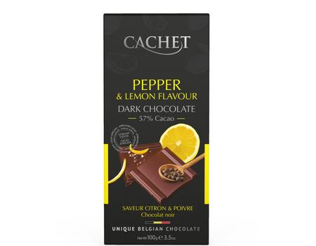 Chocolat noir extra fin au citron et poivre noir.