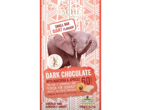 Chocolat noir 60% cacao au massepain et abricot.