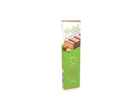 Chocolat au lait fourré à la pâte noisettes (48%).