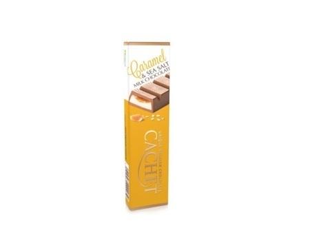 Chocolat au lait (56%) au caramel (22%) et fleur de sel (0,2%).