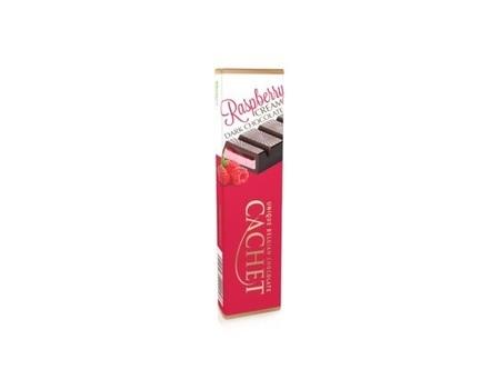 Chocolat noir fourré à la crème framboise (44%).